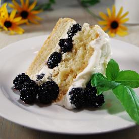 Blackberry Shortcake w/ Basil Syrup