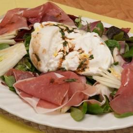 Burrata, Parma Ham and Mixed Leaves