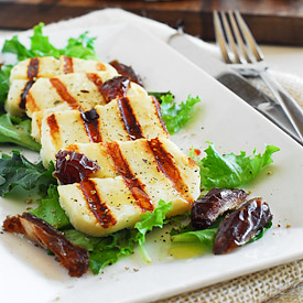 Grilled halloumi with dates