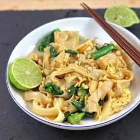 Tofu and Kai Lan Flat Rice Noodle