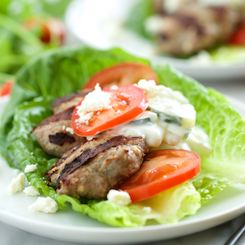 Feta Gyro Burgers with Tzatziki