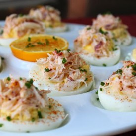 Crab Stuffed Deviled Eggs