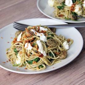 Sausage Pesto Mozzarella Spaghetti