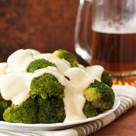 Broccoli with Cheddar Beer Sauce