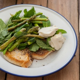 Fish with Asparagus & Goats Cheese