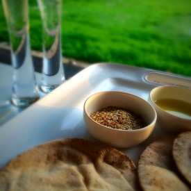 Dukkah, Garlic Oil and Flat Breads