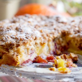 Easy peach and plum coffee cake