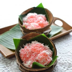 Sago Ruby With Grated Coconut