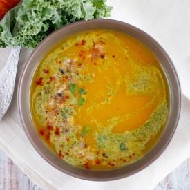 Pumpkin and kale puree soup