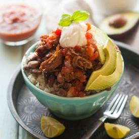 Chili Pulled Pork Burrito Bowls