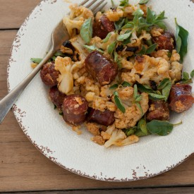 Roast Cauli with Chunky Chorizo