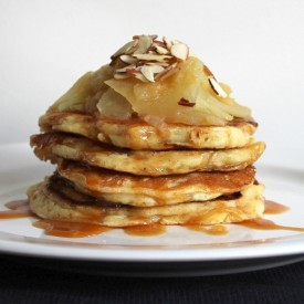 Caramel. Apple, and Almond Pancakes