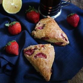 Strawberry Scones with Lemon Glaze