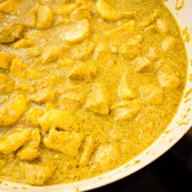 Mild banana curry with chicken