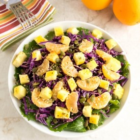 Healthy baked orange paneer salad