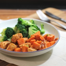 Roasted chicken with sweet potato