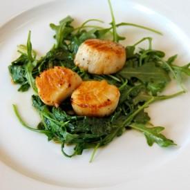 Scallops, Wilted Spinach & Arugula
