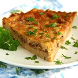Cheddar and Onion Cracker Pie
