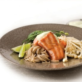 Salmon steak with wasabi sauce and