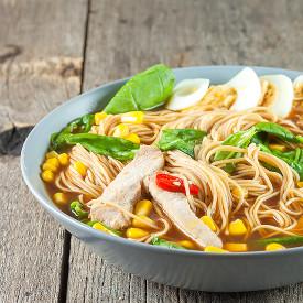 Pork ramen noodle soup