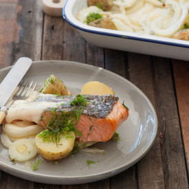 Easy Tray Baked Salmon with Spuds