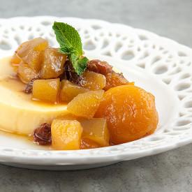 Lemon flan with tutti frutti
