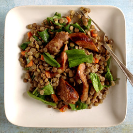 Sausage with Lentils and Spinach