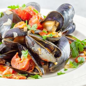 Spanish mussels in chorizo and wine