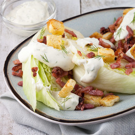 Iceberg quarters with grilled bacon