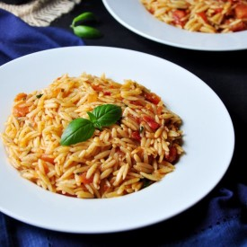 Pan-Fried Basil Tomato Orzo