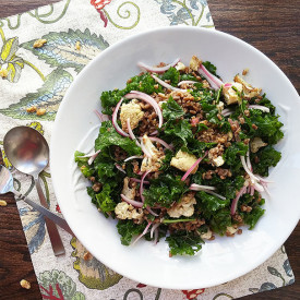 Cauliflower, farro and kale salad