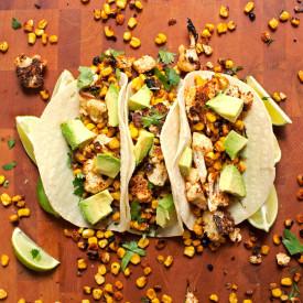Roasted Corn and Cauliflower Tacos