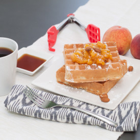 Almond Waffles with Peach Compote