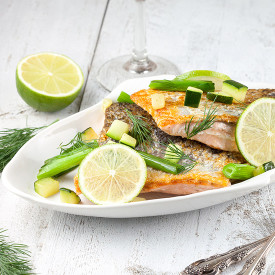 Skin baked salmon with scallions