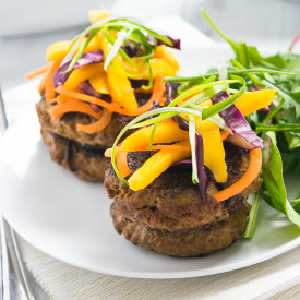 Curried Beef Burgers & Mango Slaw