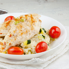 Grilled chicken risotto