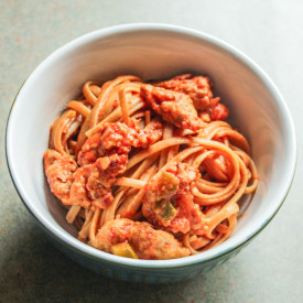 Spicy Linguine in a Rose Sauce