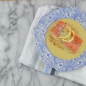 Oven Steamed Salmon and Corn Cream