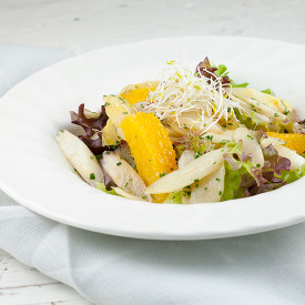 Stir fry white asparagus salad