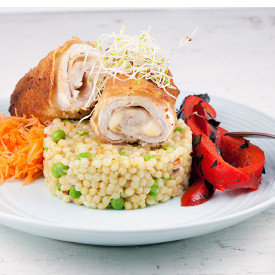 Cordon bleu with pearl couscous