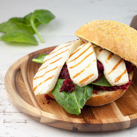 Grilled halloumi and red beets