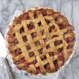 Rhubarb and Strawberry Lattice Pie
