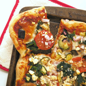 Veggie Pizza and Red Pepper Suace