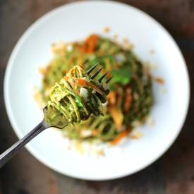 Edamame Spaghetti with Kale Pesto