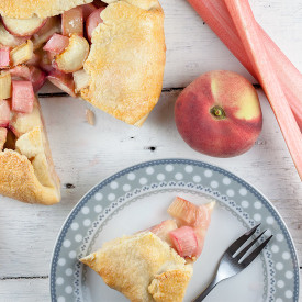 Rhubarb and wild peach galette