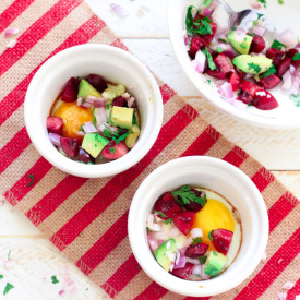 Baked Egg with Cherry Salsa