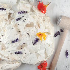 Lemon Pavlova with lavender syrup
