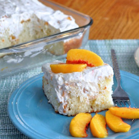 Peaches and Cream Poke Cake