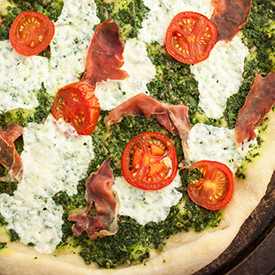 Arugula Pesto and Prosciutto Pizza