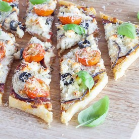 Eggplant and basil puff pastry tart
